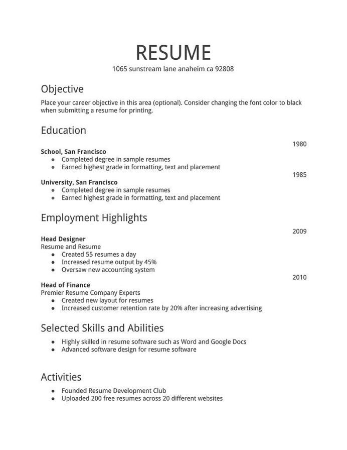 resume examples simple first job an example of for millwright fau help human resources Resume An Example Of A Resume For A Job