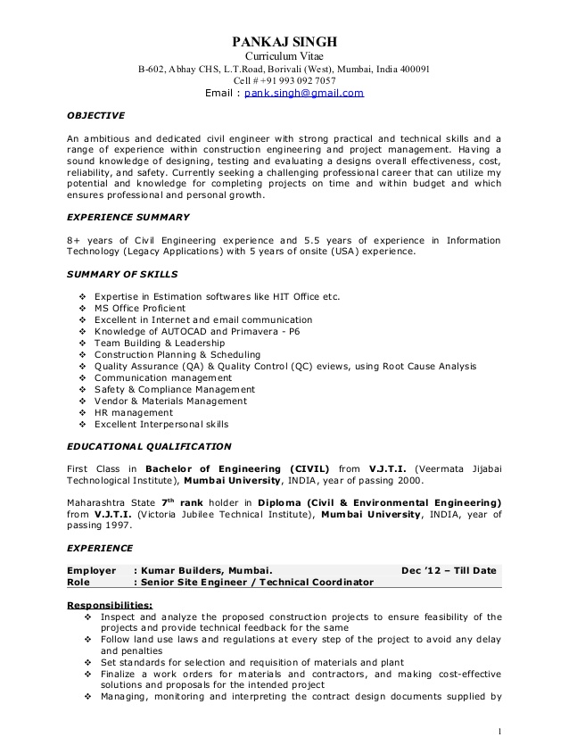 resume for construction project manager louiesportsmouth engineering examples pankaj Resume Engineering Project Manager Resume Examples