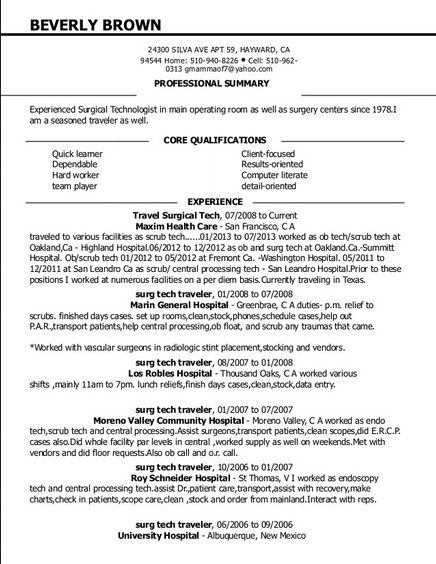 resume for surgical technologist student hvac objective statement financial skills cover Resume Free Surgical Technologist Resume Templates