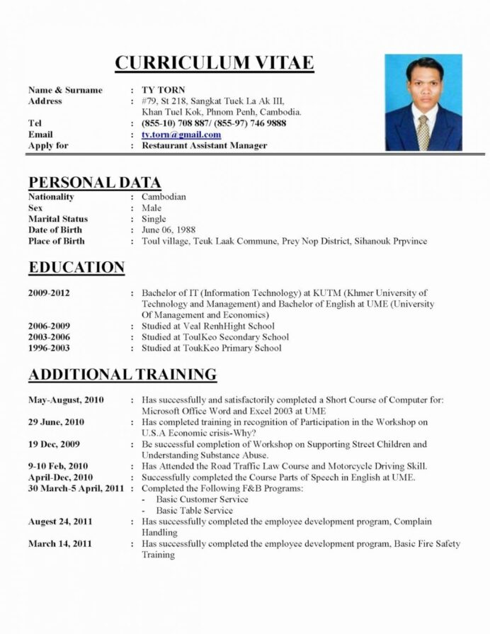 resume format examples job cv sample template example application cio of healthcare fast Resume Job Application Resume Sample