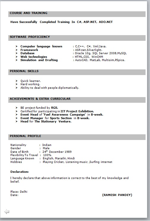 resume format for fresher free job cv example basic freshers it in word great examples Resume Fresher Resume Templates Word