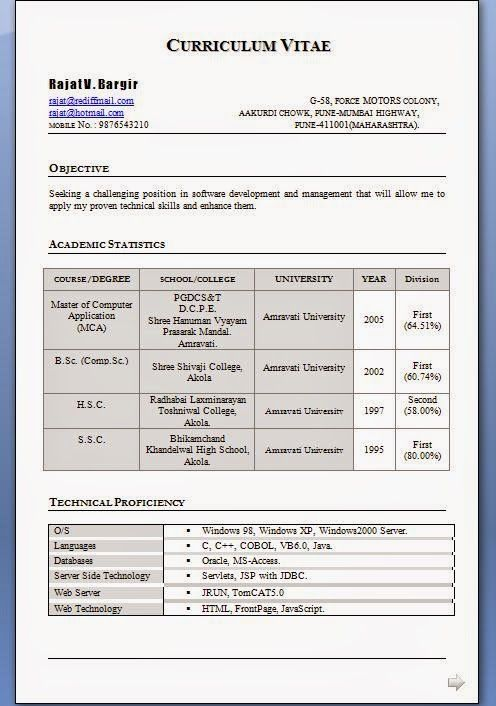 resume format for mca students best ux designer staples software examples retail analyst Resume Mca Fresher Resume Format Free Download