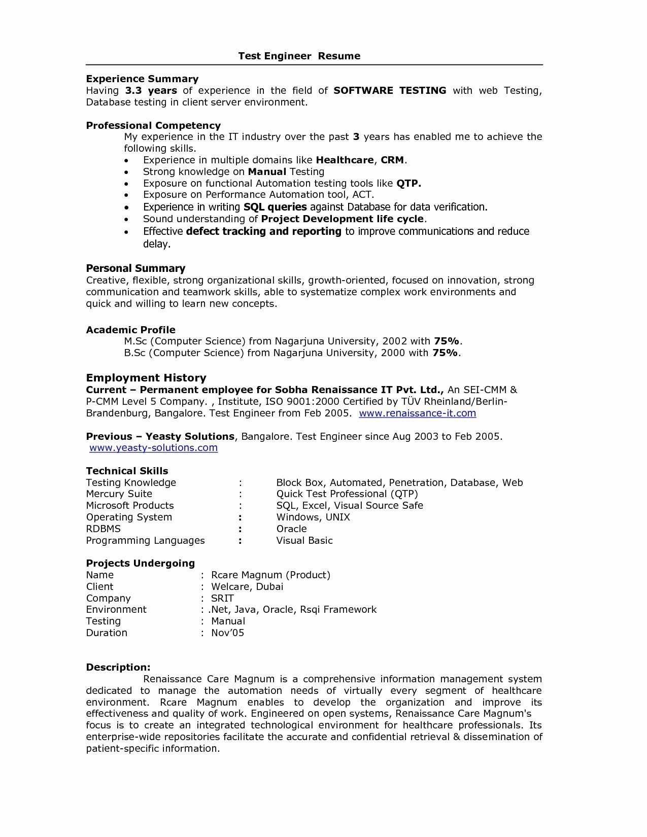 resume format for years experience in testing best sample software holder walmart skills Resume Sample Resume For 3 Years Experience