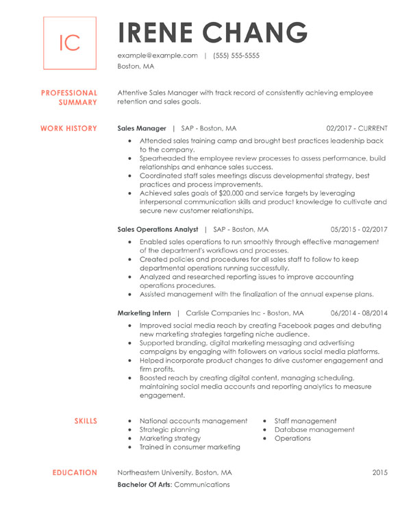 resume formats guide my perfect customer service examples chronological manager walmart Resume College Resume Examples 2020