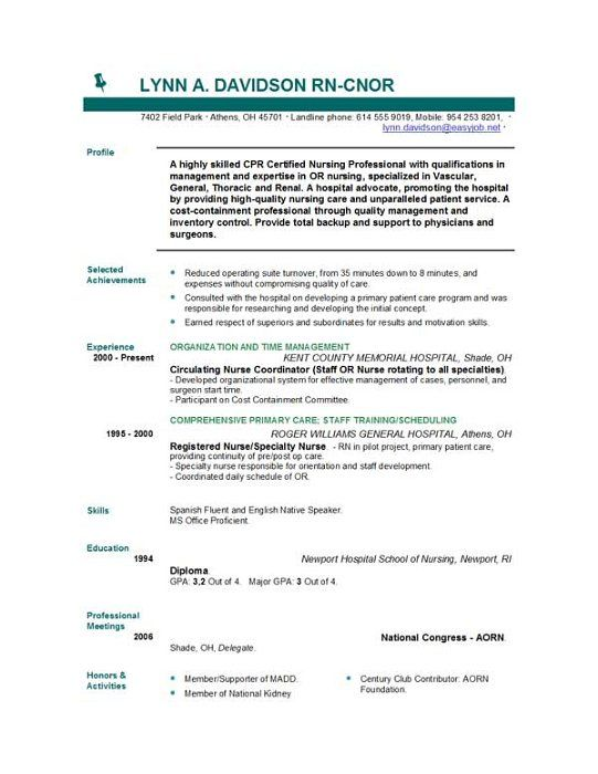 resume guide nursing template registered nurse examples format skills bar rn objective Resume Nursing Resume Format Download