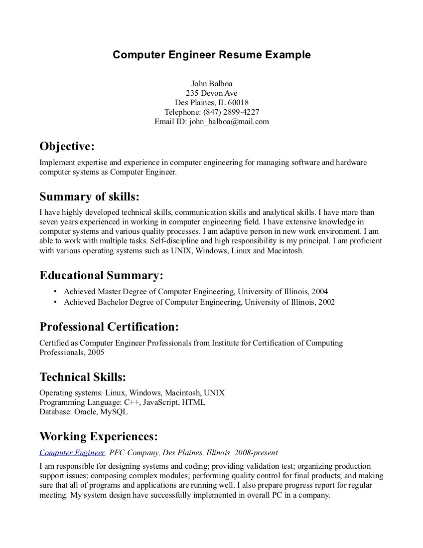 resume objective examples computer engineer tipss und vorlagen good general medical Resume General Resume Objectives For Students