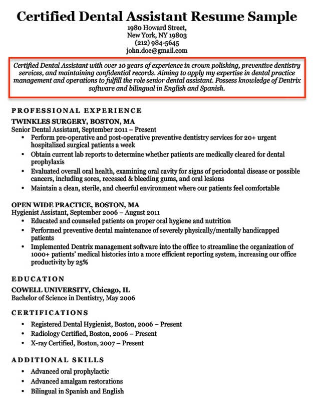resume objective examples for students and professionals general objectives dental Resume General Resume Objectives For Students