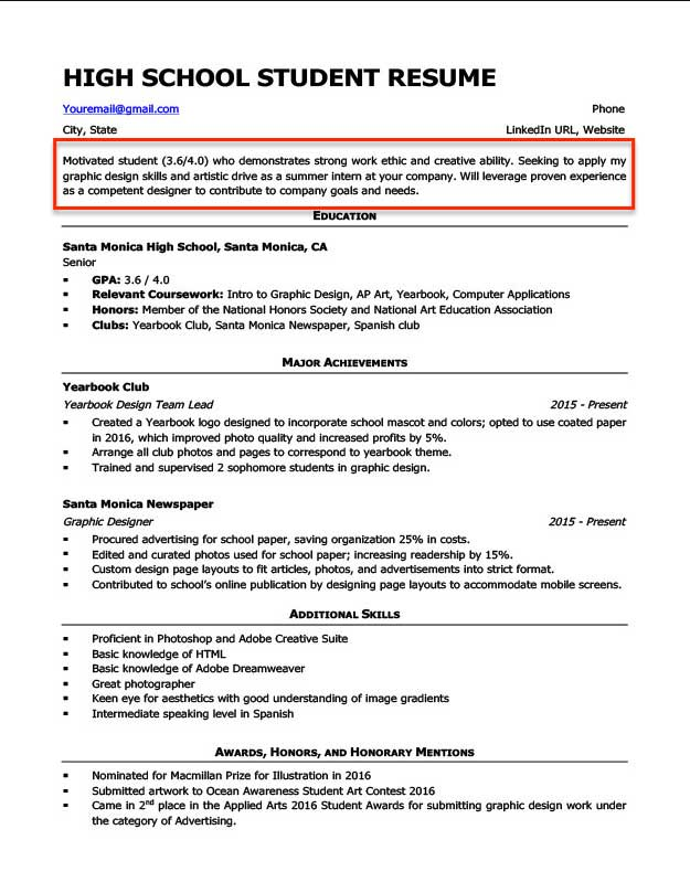 resume objective examples for students and professionals good high school student career Resume Good Resume Objective Examples