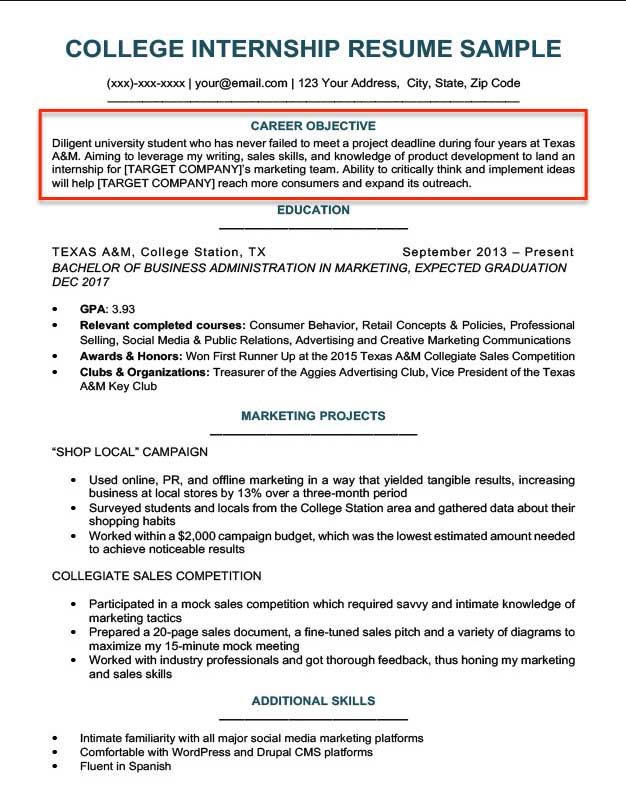 resume objective examples for students and professionals statement internship college Resume Resume Objective Statement For Internship