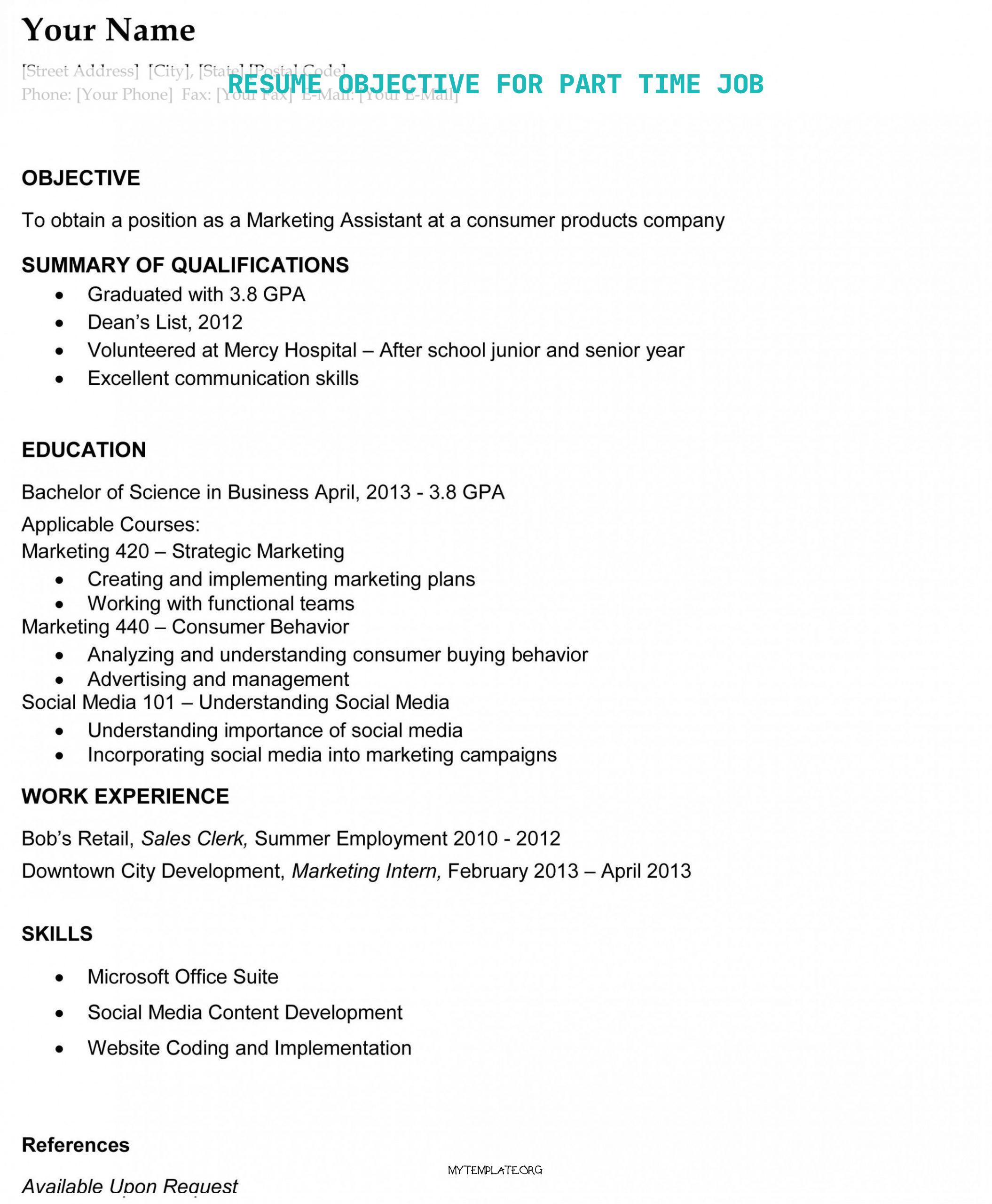 resume objective for part time job free templates template of goal school pupil pin adobe Resume Part Time Job Resume Template