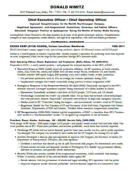 resume samples chief executive officer ceo oil gas resumesampleceo doug page1 examples Resume Oil & Gas Resume Samples