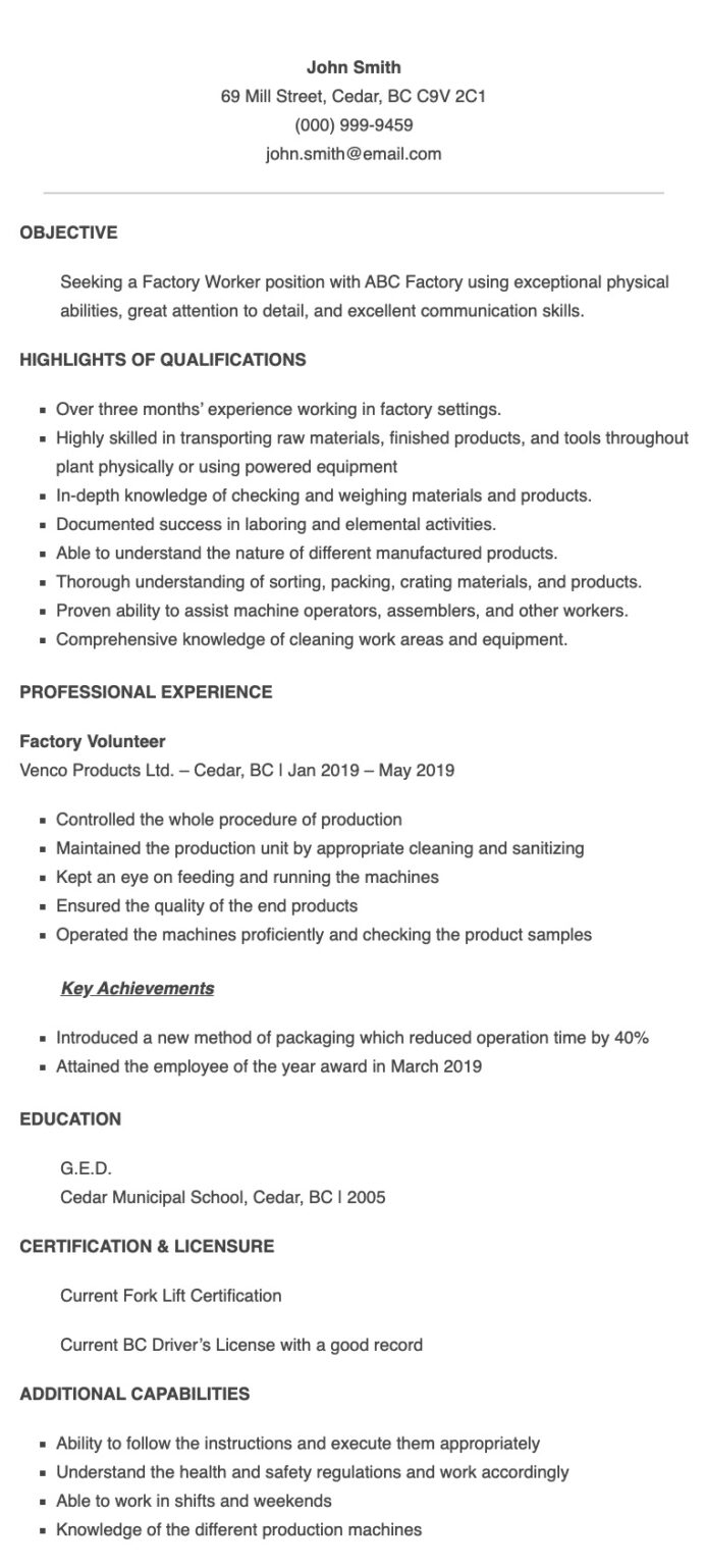 resume samples for factory worker applicant in the examples sample words with letters Resume Production Worker Resume Sample