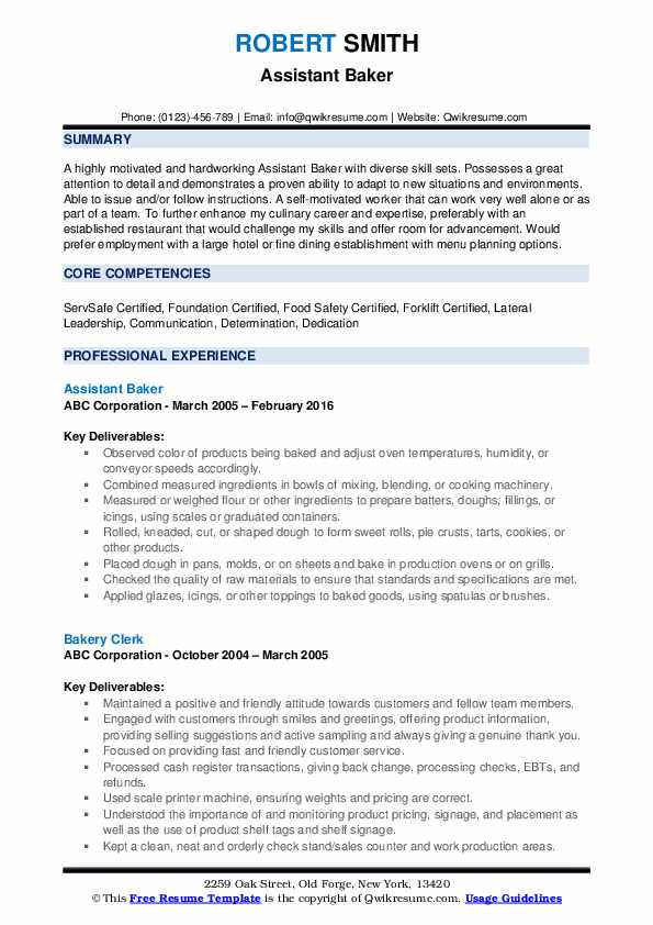 resume samples qwikresume objective for bakery job pdf positioning statement include gpa Resume Resume Objective For Bakery Job