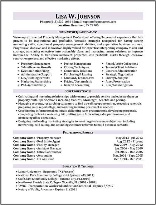resume samples types of formats examples and templates manager property management Resume Estate Manager Resume Example