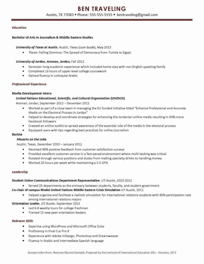 resume study abroad example elegant university of can in teacher examples job experience Resume Resume Study Abroad Example