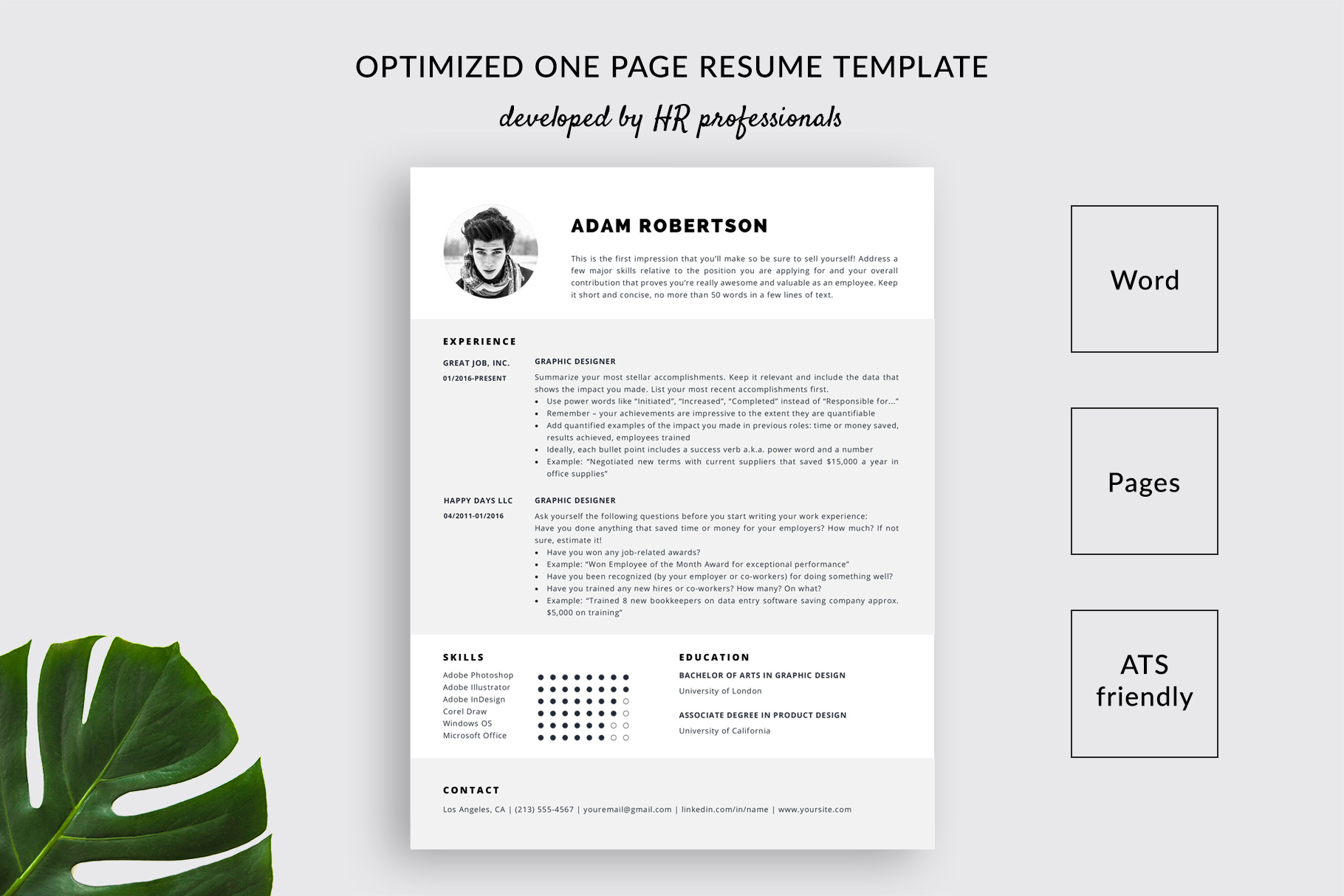 resume template and cover letter adam ats friendly one templatehippo powerpoint software Resume Ats Friendly Resume Template