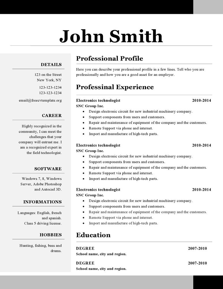 resume template free downloadable one format photographer assistant five feet apart sjvc Resume One Page Resume Format