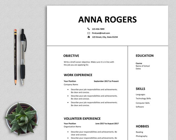 resume template word first job cv one etsy student il 570xn frus format for science Resume First Job Student Resume