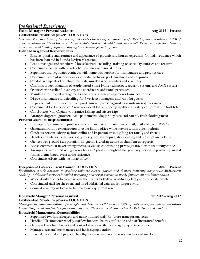 resume templates for the modern household manager private estate creative copywriter can Resume Estate Manager Resume Example