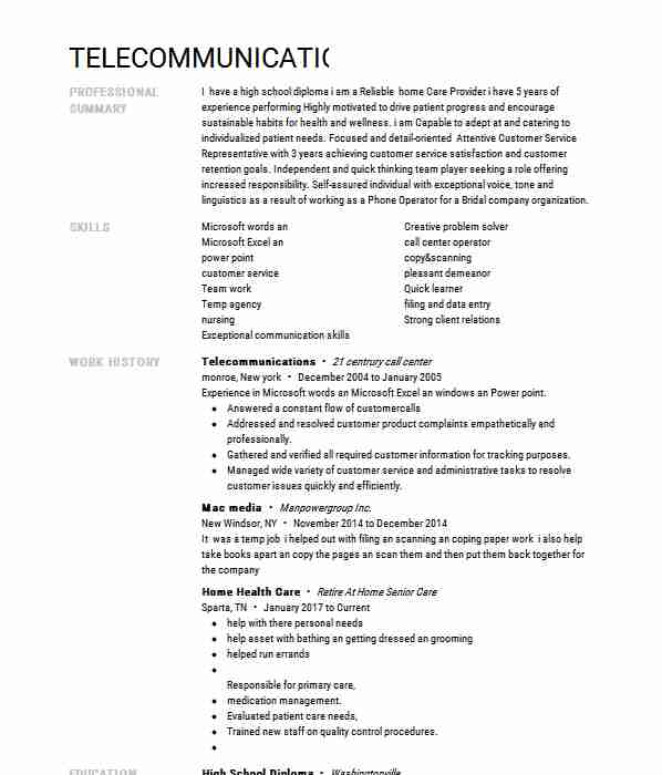 resume typer difference between cover letter and telecommunications keywords format for Resume Telecommunications Resume