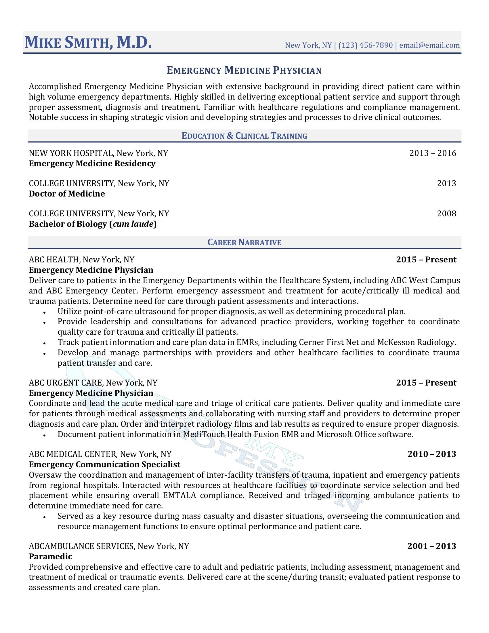 resume without objective statement sample skill set for physician run through ats Resume Physician Resume Writer