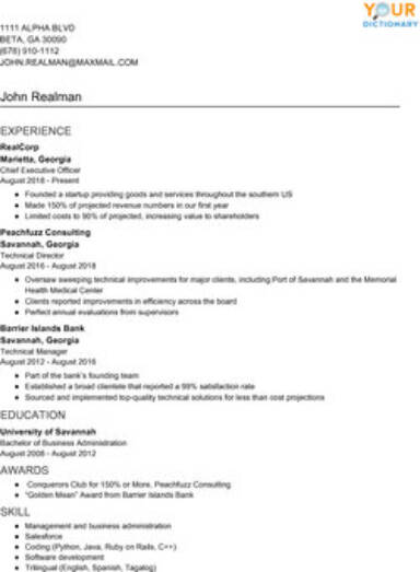 resume writing examples with simple effective tips experience description hronological Resume Experience Description Resume Examples