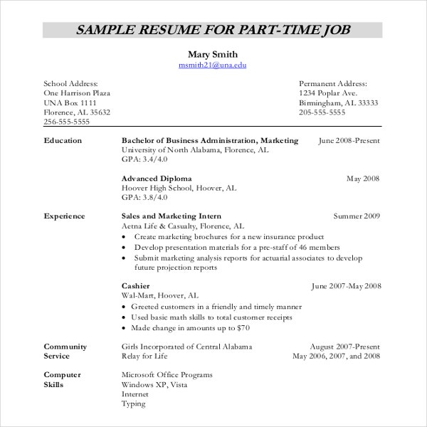 resume writing template free sample example format premium templates basic for part time Resume Writing A Basic Resume