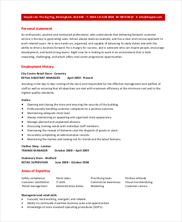 retail assistant manager resume sample store shipping primary teaching examples mail your Resume Assistant Store Manager Resume
