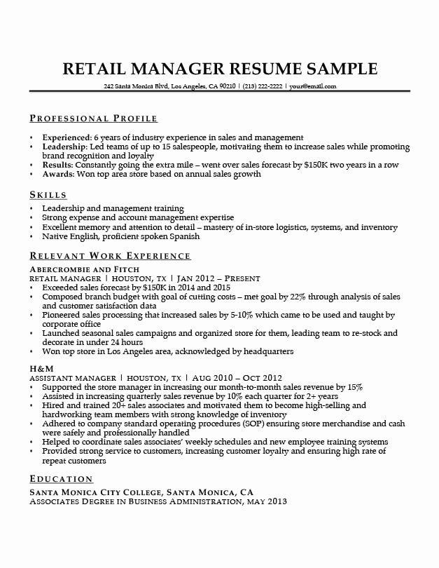retail manager resume examples unique sample writing tips hospitality management summary Resume Retail Manager Resume Examples
