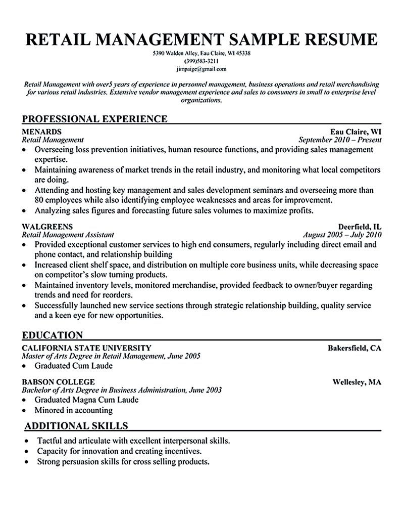 retail manager resume template line 17qq management experience arcawseatcx lftp entry Resume Retail Management Experience Resume