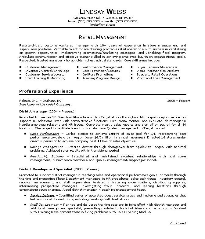 retail store manager resumes resume examples objective summary call center customer for Resume Retail Management Experience Resume