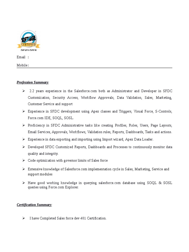 salesforce developer resume with lightning experience commerce attractive skills for Resume Salesforce Commerce Cloud Developer Resume