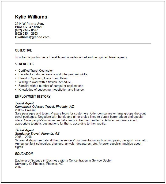 sample airlines ticketing agent cv free resume templates professional samples customer Resume Employment Agency Resume