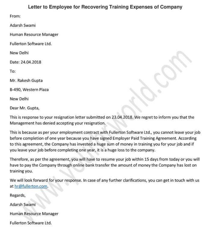 sample letter to employee for recovering training expenses of company hr formats contract Resume Employee Contract Extension Letter Resume