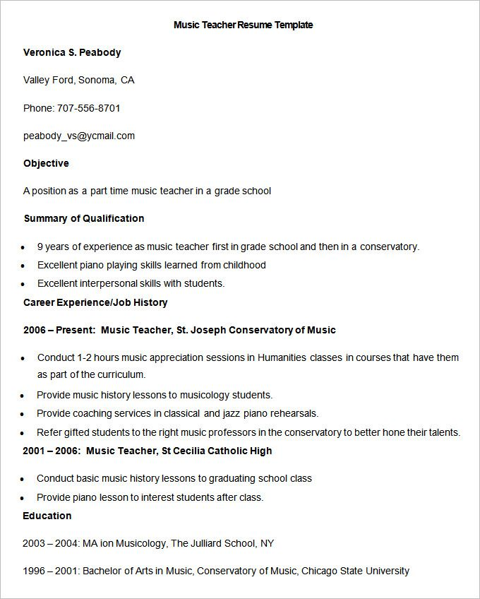 sample music teacher resume template to make good there free of implementation analyst Resume Resume Of A Music Teacher