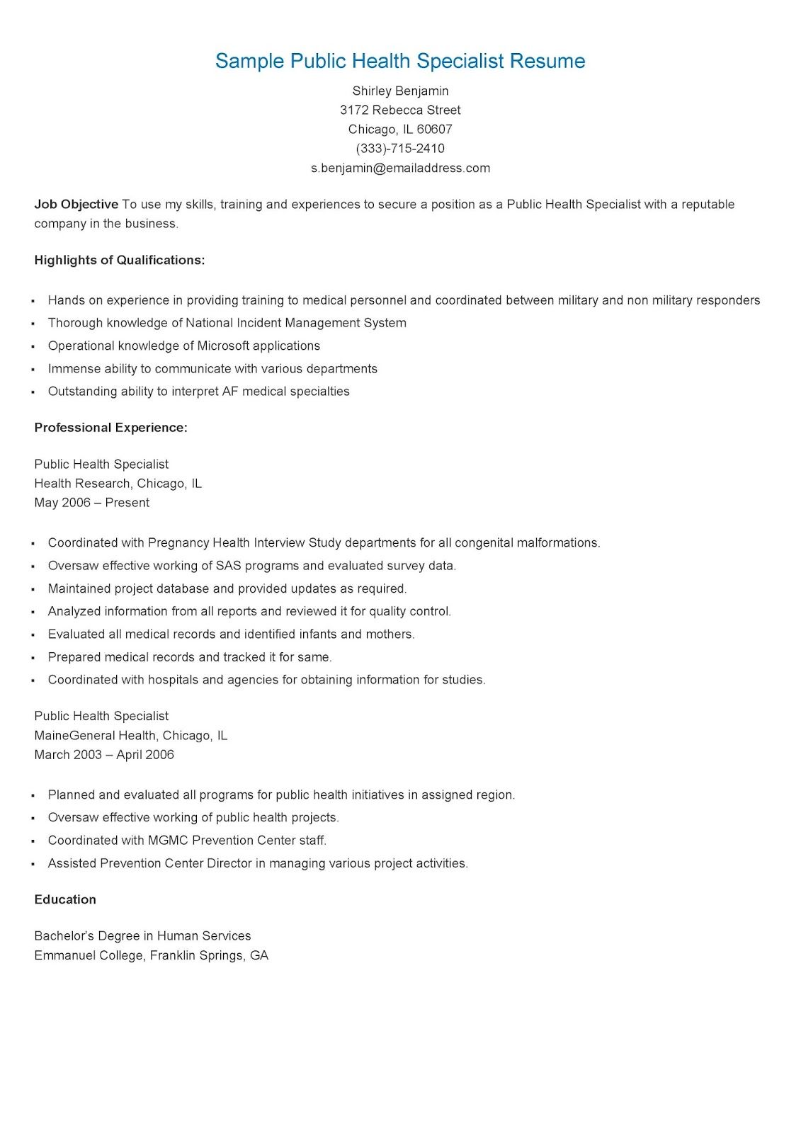 sample public health specialist resume examples jobs template housekeeping supervisor Resume Public Health Resume Template