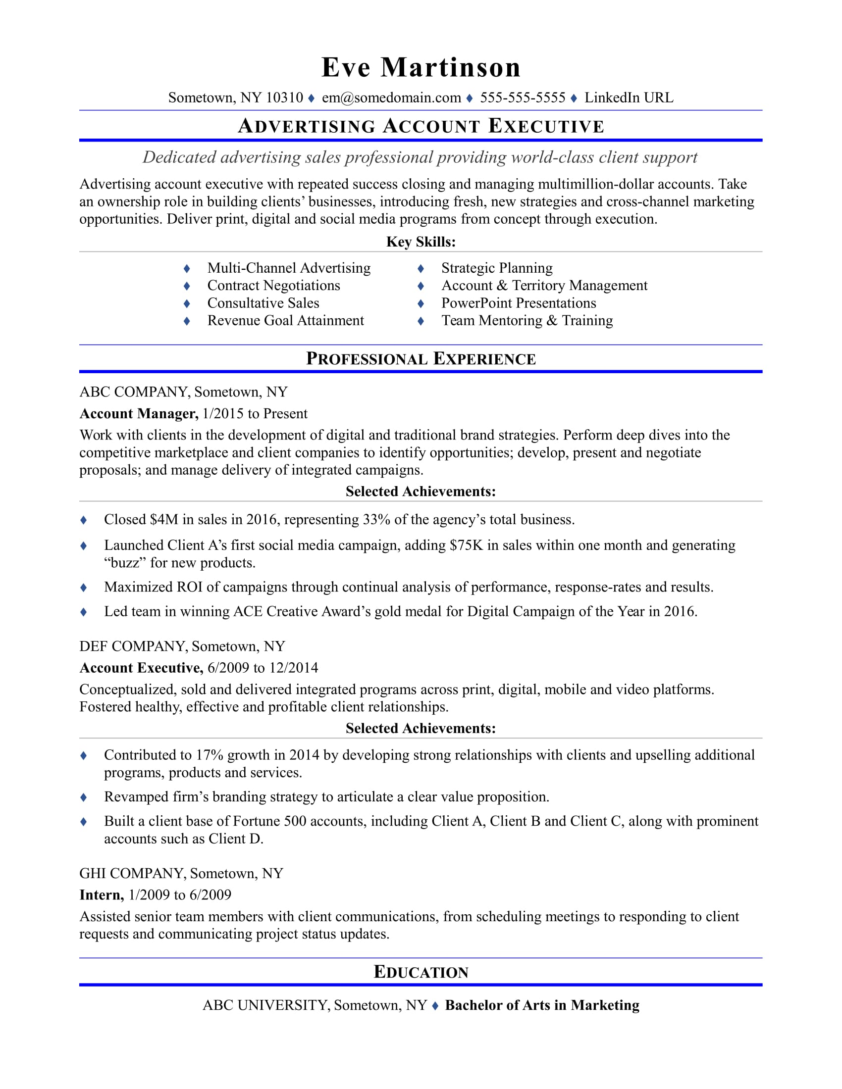 sample resume for an advertising account executive monster examples summary student Resume Account Executive Resume Examples