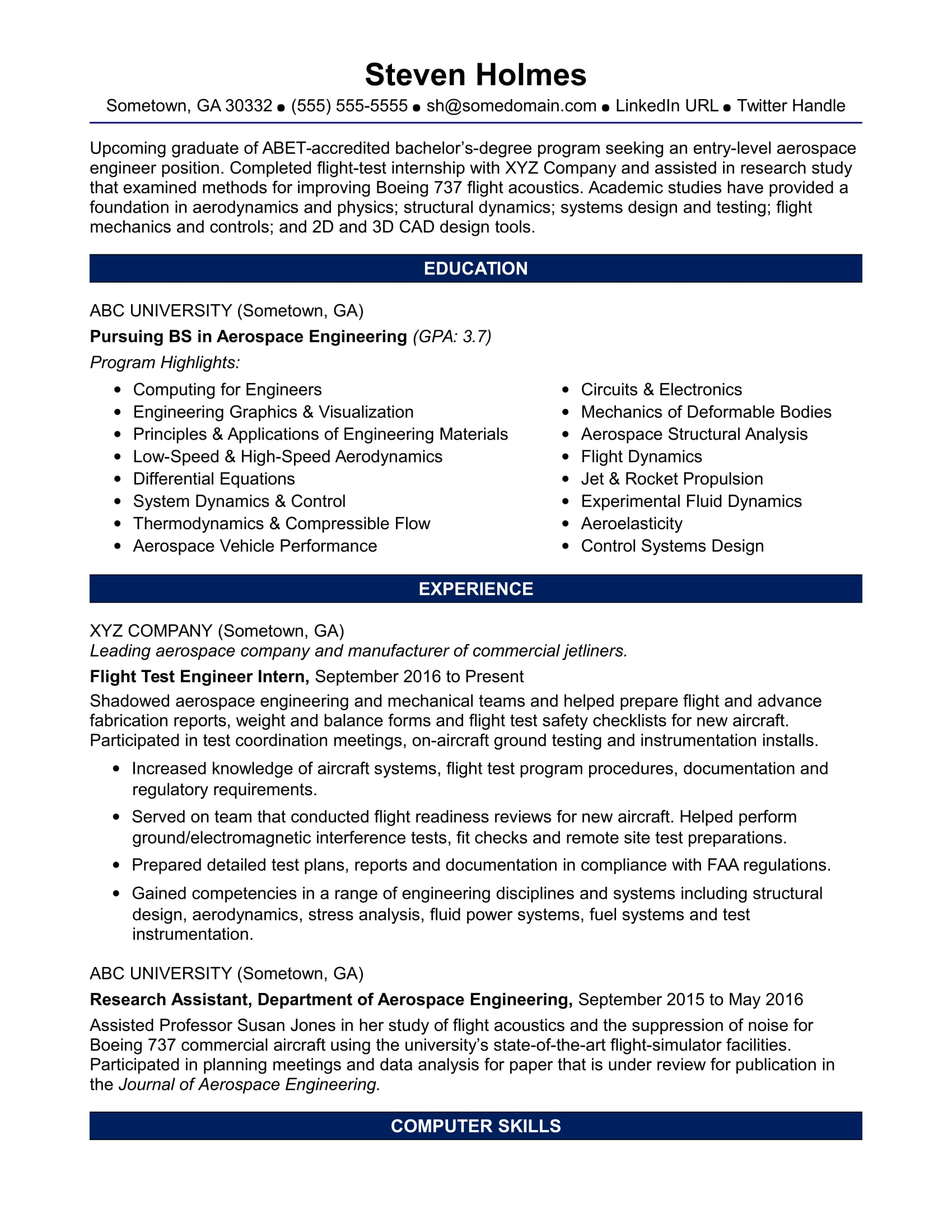 sample resume for an entry level aerospace engineer monster engineering student h1b Resume Aerospace Engineering Student Resume