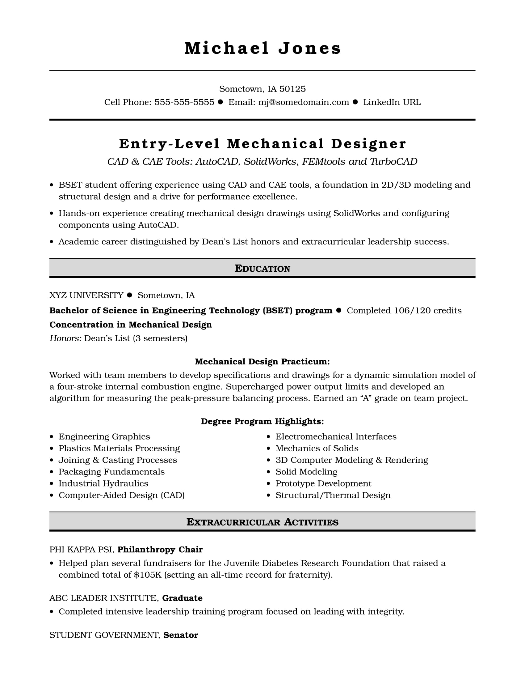 sample resume for an entry level mechanical designer monster another word extracurricular Resume Another Word For Extracurricular Activities On Resume