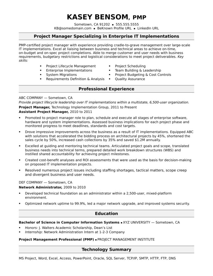 sample resume for midlevel it project manager monster summary examples ses ecq example Resume Resume Summary Examples Project Manager