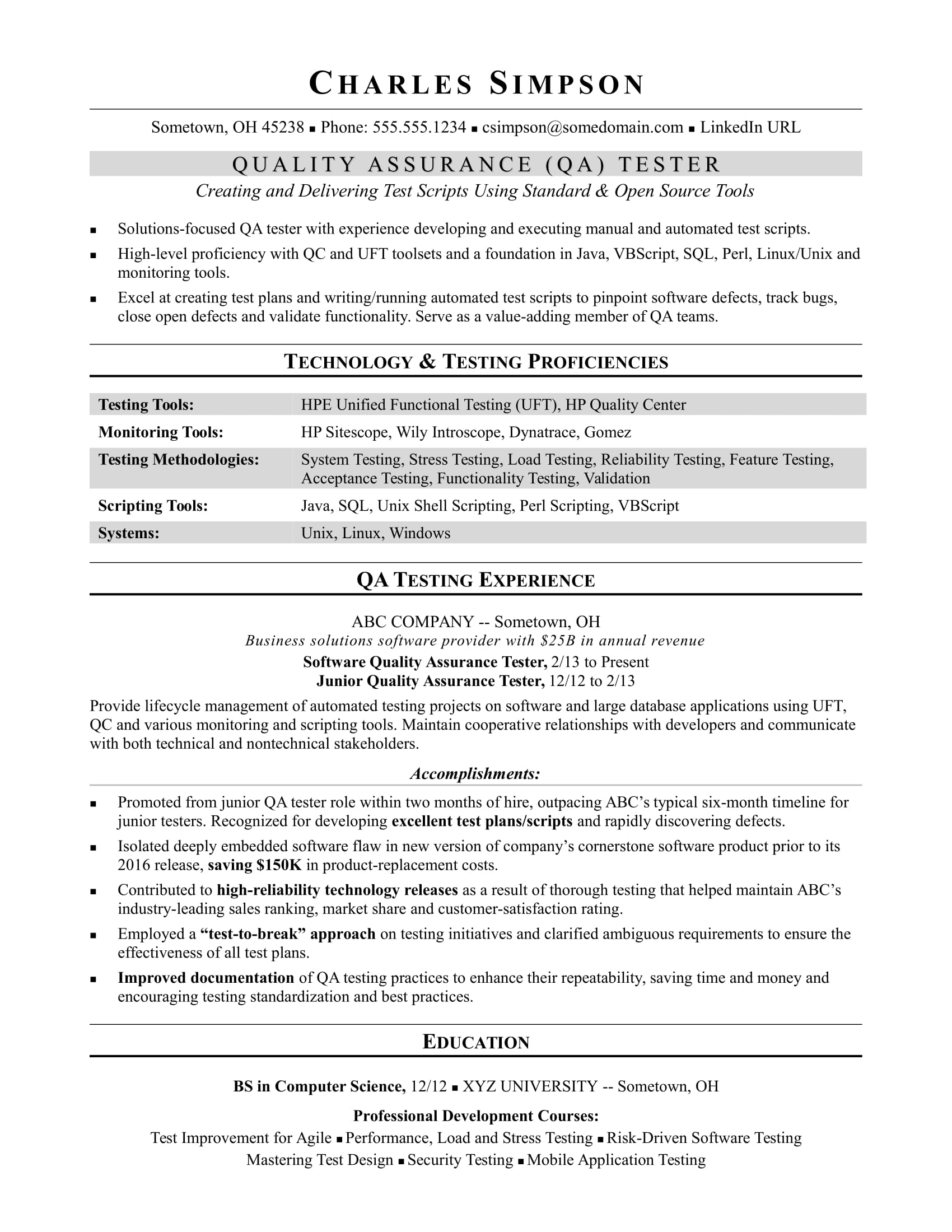 sample resume for midlevel qa software tester monster automation make and print free Resume Automation Tester Resume