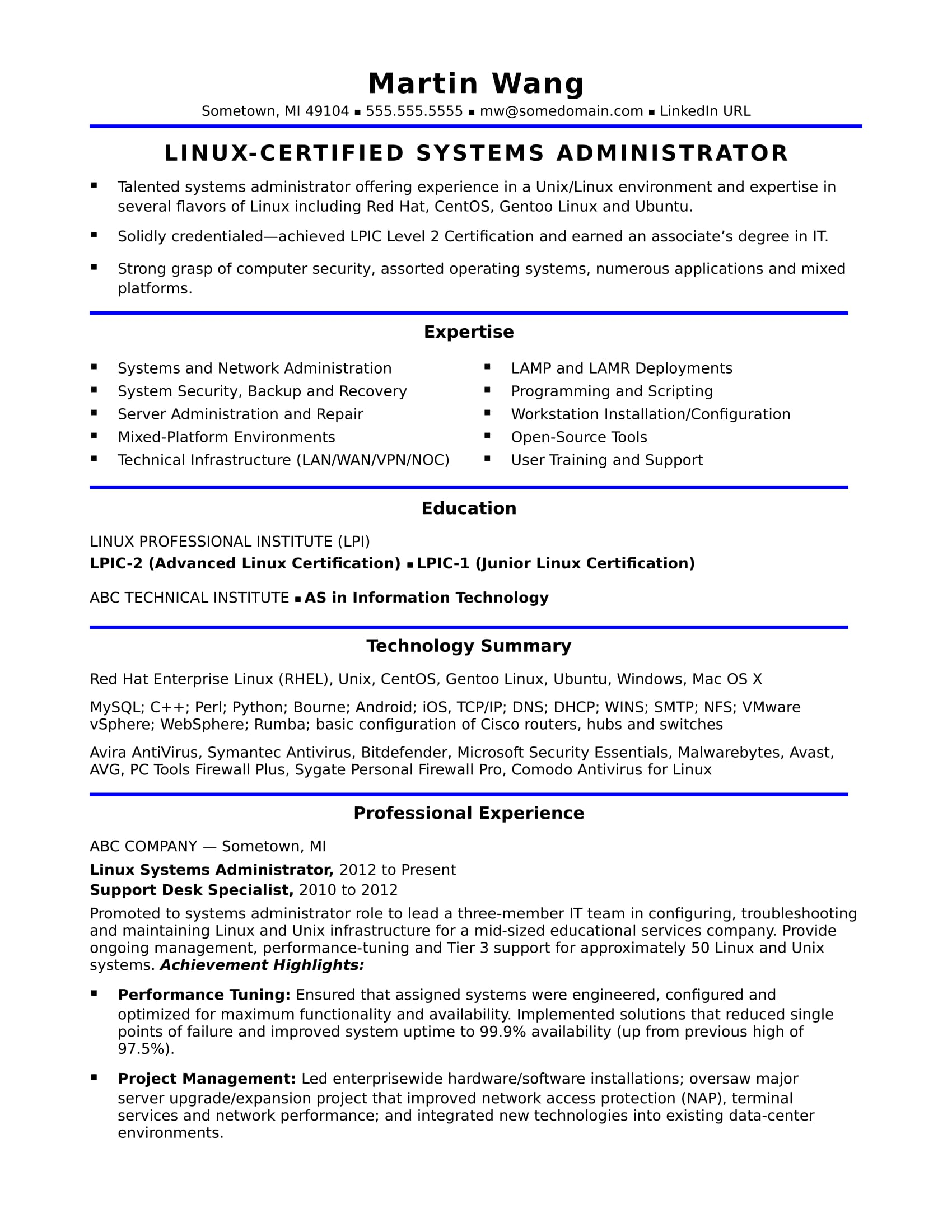 sample resume for midlevel systems administrator monster linux year experience trending Resume Linux Administrator Resume 4 Year Experience