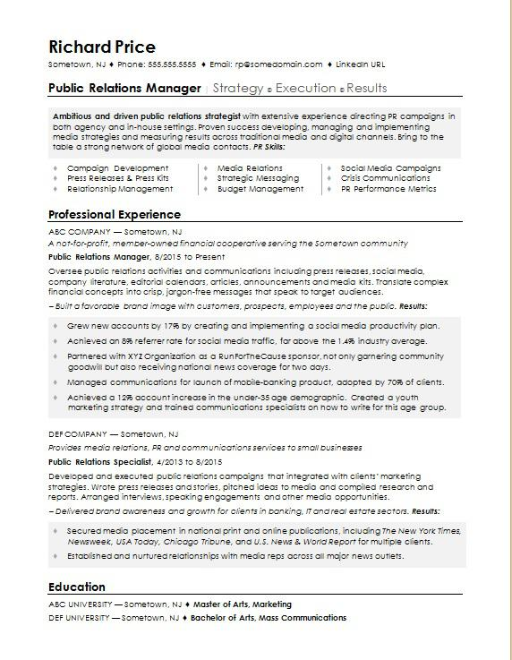 sample resume for public relations manager monster results driven example pr best Resume Results Driven Resume Example