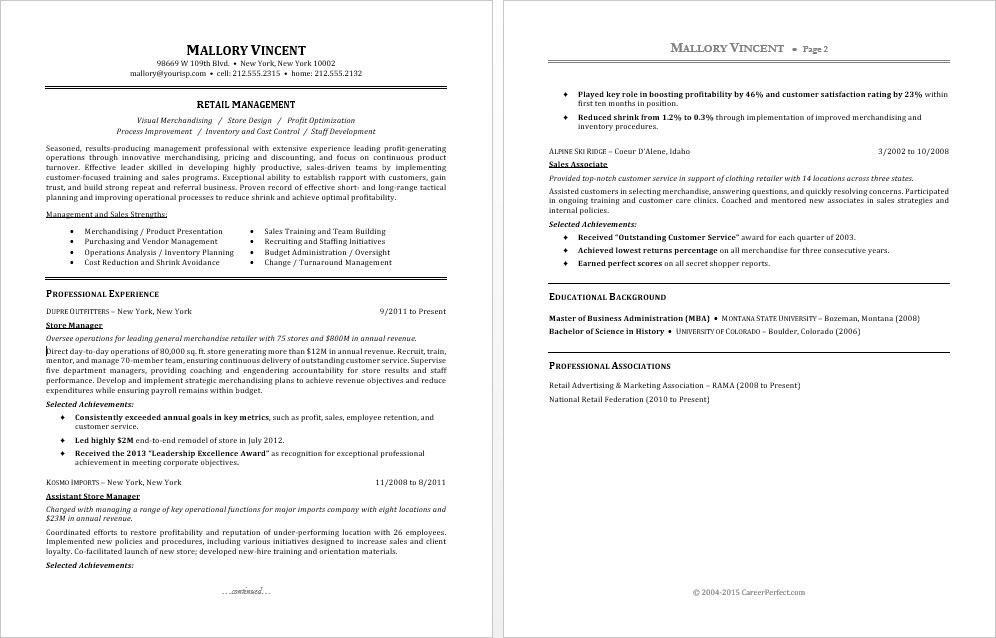 sample resume for retail manager monster examples simple format students college template Resume Retail Manager Resume Examples