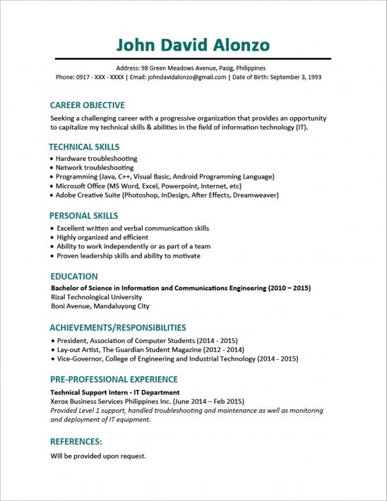 sample resume format for fresh graduates one objective examples skills best objectives Resume Example Of Best Resume For Fresh Graduate