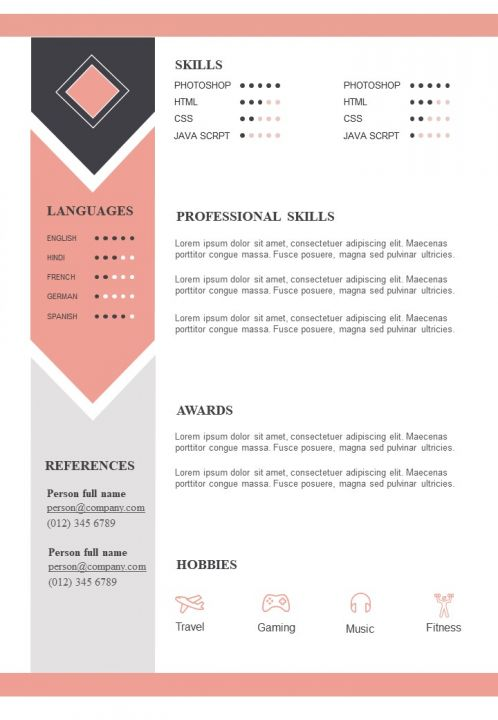 sample resume format with skills and awards section presentation graphics powerpoint Resume Resume Interests Section Sample