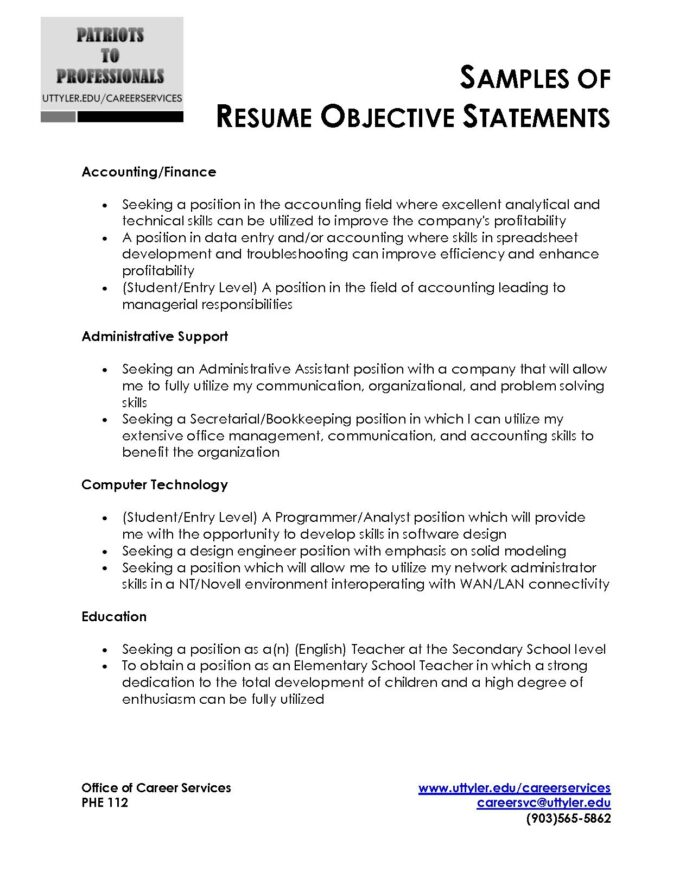 sample resume objective statement free templates examples best statements general labor Resume Accounting Resume Objective Statements
