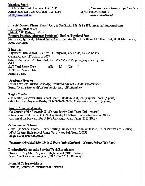 sample rugby recruit athlete resume the ruggers edge high school sports template re Resume High School Sports Resume Template