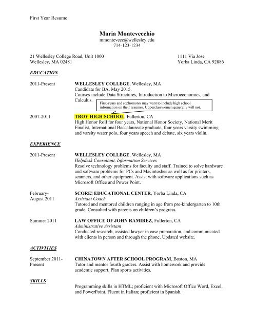 sample student resumes wellesley college resume first year course undergraduate research Resume Resume First Year College Student