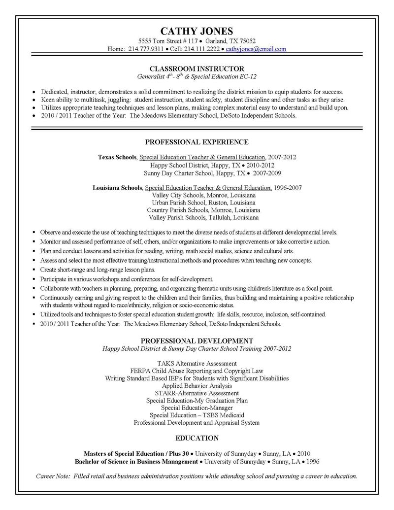 sample teacher resumes special education resume examples writing an email with for army Resume Sample Special Education Teacher Resume